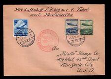 Hindenburg Airship Zeppelin 1st Flight North America Frankfurt 1936 Cover 3l