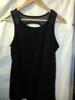 Zone Pro Active Black Tank Top Sheer Open Back Design Size Large Exercise Gym