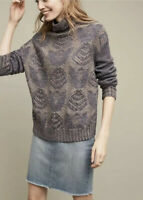 Anthropologie Folk Hansel From Basel Stitched Foliage Sweater Blue Floral Size M