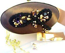 MENBUR Spain EVENING Purse BOX Handbag /Chain BROWN SATIN Beaded Minaudiere BNWT