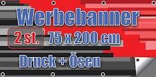 Werbebanner * Banner * 2 St.* 200 x 75 cm * Druck + Ösen * Top-Angebot