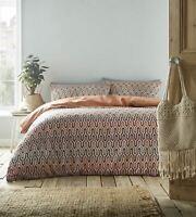 Geometric Moroccan Terracotta Orange Reversible Duvet Quilt Cover Bedding Set