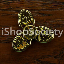 Metal Cross Shield Tri Spinner Figet Spinners Hand Desk Focus Toy ADHD - GOLD
