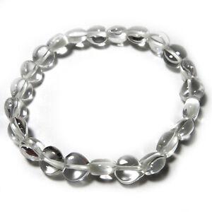 Nature Pure Quartz Crystal Heart Beads Bracelet Japan Handmade Womens Gift