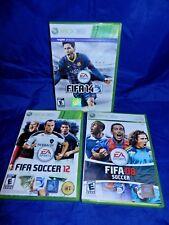 Lot of 3 XBox 360; FIFA14, FIFA Soccer 12, FIFA 08 Soccer - Compl, VG, Free Ship