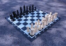 "Plastic - GIANT GARDEN CHESS SET + Vinyl Board - 8"" King"