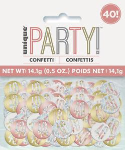 40th Birthday Rose Gold Glitz Table Confetti Age 40 Decoration Metallic Colours