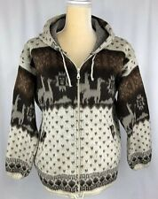 Artesanias Tuntaquimba Cardigan Sweater XL Wool Hoodie Brown Oriental Southwest
