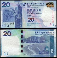 Hong Kong 20 dólares (P341a) Bank of China 2010 UNC