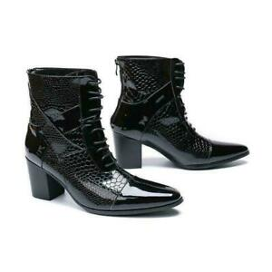 Men's Leather Ankle Boots High Block Heels Formal Lace up Pointed toe Shoes New