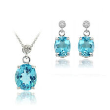 925 Silver 10.8ct Swiss Blue Topaz & Diamond Accent Oval Pendant & Earrings Set