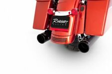 Rinehart Xtreme True Duals Black W/ Blk End Caps 4 Inch Mufflers 09-16 Harley FL
