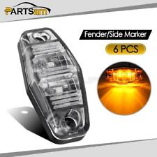 6pcs LED Light 2 Diode Clear/Amber Universal Mount Clearance Side Marker Trailer