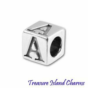 Block Letter Alphabet 925 Solid Sterling Silver Spacer Bead 5.8mm 3.8mm Hole