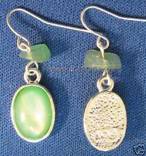 Stone Earwire Earrings 5388 Signed Kc Silver Plate Jade