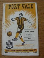 12/11/1960 PORT VALE V Barnsley (Rusty Staples, punteggio annotato, piegato)