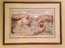 WILL MOSES Quilts And Hounds Art Piece FRAMED !