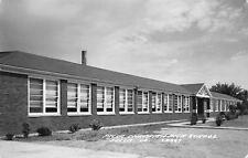 Pella Iowa! Christian High School~1-Story Stick-Style Dutch Gable~RPPC 1940s