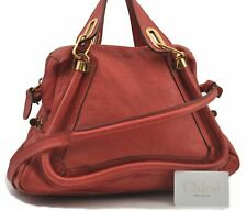 Authentic Chloe Paraty 2Way Shoulder Hand Bag Leather Red B4097