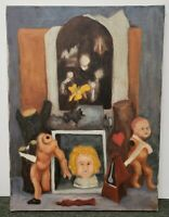 Untitled Surrealist Oil Painting on Canvas by Burchfield (1963)