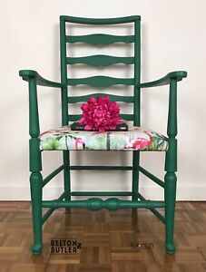 Green ladder back Tropical flamingo Print Upholstered Padded chair