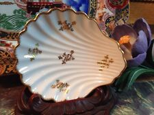 Vintage Limoges France Vanity Pin Dish White Shell Gold Trim  and Pattern 4 3/4""