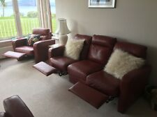 3 Seater Leather Sofa & Single Seat Recliner  - Autumn Red