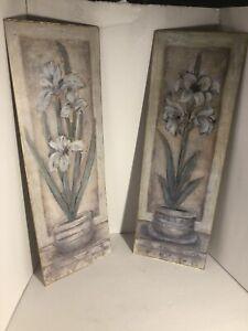 "2 x Flower Painting Prints  Set of 2 - 28"" x 9"" No frames"