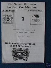 Exeter City v Cheltenham - Reserve Match Programme - 7/10/92