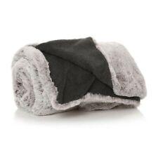 Grey Faux Fur Blanket 130x150cm - Shruti Thick Cosy Throw Neutral Home Decor #NG