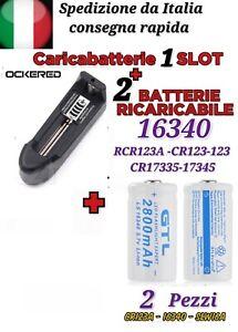 2x BATTERIE CR123A 16340 17335 RICARICABILE ORIGINALE GTL + CARICABATTERIE 1SLOT