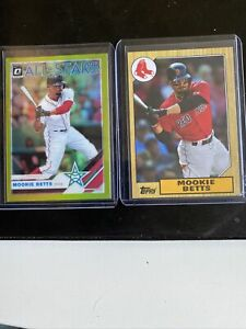 """Mookie Betts 2 Card Lot (2019 Optic """"Lime Green"""", 2020 Topps Choice)"""