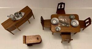 Strombecker Dollhouse 7-Piece 1930's/40's Walnut Dining Set- ESTATE CLOSING SALE