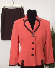 Suit Studio Women's Orange Brown 100% Polyester 2 Piece Skirt Suit Size 8 EUC!