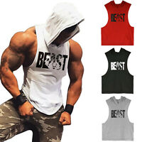 Men Gym Muscle Workout Lightweight Printing Sleeveless Athletic Hoodies Tank Top