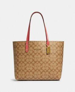 NWT Coach F76636 Khaki Poppy Town Tote in Signature Canvas Shoulder Bag $350