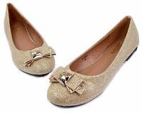 BELINDA New Fashion Blink Slip On Casual Women Flats Beauty Bowknot Shoes Gold