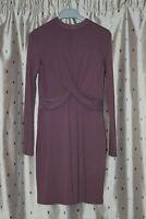 TOPSHOP Ladies Dusky Pink Long Sleeve Stretch Viscose Dress ~ Size 10
