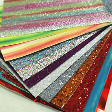 150g Fine Chunky Glitter Faux Leather Vinyl Fabric Off-cut Scrap Pack Crafts Bow