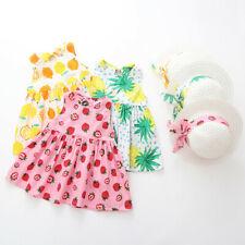 Toddler Baby Kids Girls Summer Fruit Princess Dresses Hat Casual Outfits Set