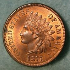 1875 Indian Head Penny Near GEM BU Mostly Red With Liberty & 4 Diamonds US Coin