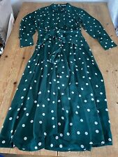 Sensational & OTHER STORIES Polka Dot Tie Front Midi Shirt DRESS, Dark Green, 12