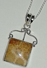 ladies💎GIFTS Indian sterling silver 925 & Coral Fossil necklace 18 inch chain