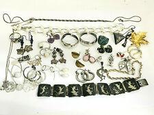 Earrings Bracelet Brooch + 126g Vintage Sterling Silver Jewelry Lot Necklaces