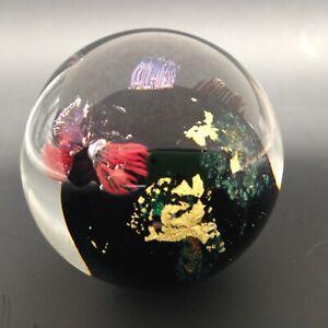Josh Simpson Studio Blown Cased Art Glass 47mm Marble Sculpture Signed JS 14