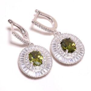 """Burmese Peridot, White Topaz 925 Sterling Silver Jewelry Earring 1.44"""" S2612"""