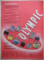 PUBLICITÉ DE PRESSE 1955 BRIQUETS OLYMPIC ARLEQUIN JUNIOR TEMPÊTE GRAND FUMEUR