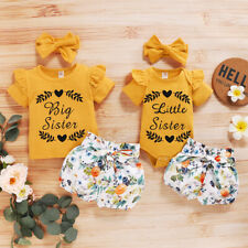 Little Big Sister Matching Clothes Jumpsuit Romper+Floral Shorts+Headband Outfit