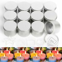 16X Round Candle Tin Silver 100ml Metal Seamless WAX Soy Making Container Jars