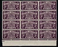 GB KGVI 1950 3d Deep Purple Excise Revenue Block of 12 MNH/MH J5635